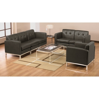 Faux Leather Modern Reception Set