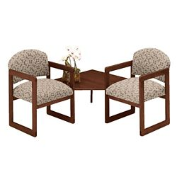 Premium Upholstered Two Chairs with Corner Table