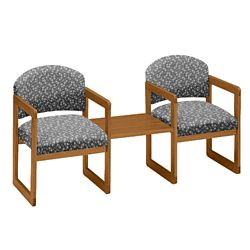 Premium Upholstered Two Chairs with Center Table