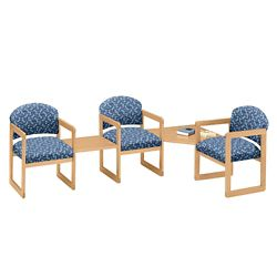 Three Premium Upholstered Chairs with Corner and Center Table Set