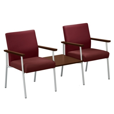 Uptown Two Chairs with Center Table Set in Premium Upholstery