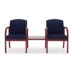 Two Fabric Guest Chairs with Center Table