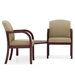 Two Vinyl Guest Chairs with Corner Table
