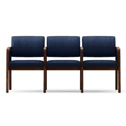 New Castle Fabric Three Seat Panel Arm Sofa with Center Arm