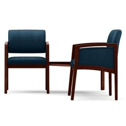 New Castle Two Panel Arm Vinyl Guest Chairs with Connecting Corner Table