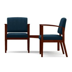 Ridgewood Two Vinyl Guest Chairs with Connecting Corner Table Set