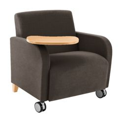 500lb. Capacity Oversized Fabric Guest Chair with Tablet Arm and Casters
