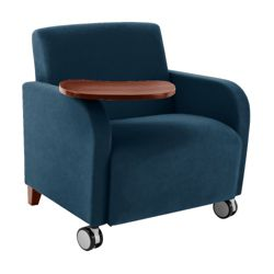 500lb. Capacity Oversized Vinyl Guest Chair with Tablet Arm and Casters