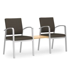 Two Guest Chairs with Center Table Set in Solid Fabric