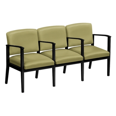Mason Street Polyurethane Three Seater with Center Arms