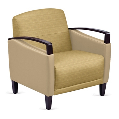 Arc Collection Fabric or Fabric/Polyurethane Arm Chair with Wood Arms
