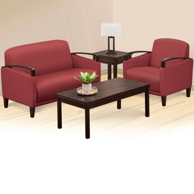 Arc Polyurethane Loveseat and Arm Chair Set