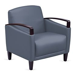 Arc Collection Polyurethane Arm Chair with Wood Arms