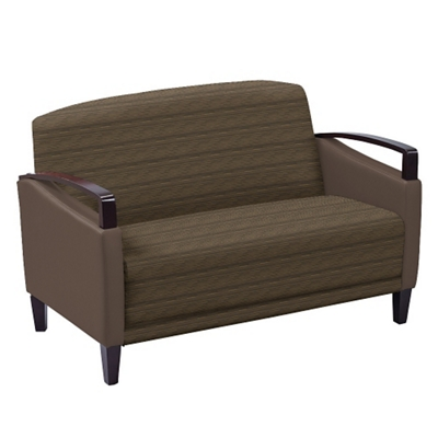 Arc Collection Fabric or Fabric/Polyurethane Loveseat with Wood Arms