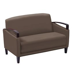 Arc Collection Polyurethane Loveseat with Wood Arms