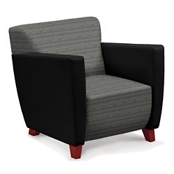 Edge Fabric or Fabric/Poly Arm Chair with Extra Thick Seat
