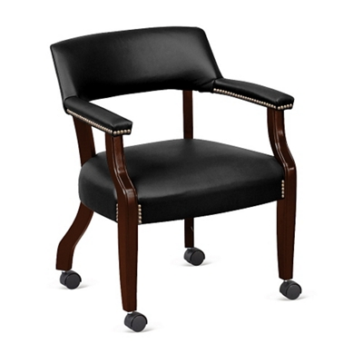 Monroe Faux Leather Captain's Guest Chair with Casters