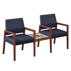 """Two Fabric Guest Chairs with Connecting Table - 22.5""""W x 23.5""""D"""