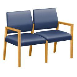 """Polyurethane or Fabric/Polyurethane Two Seat Sofa - 43.5""""W x 23.5""""D"""
