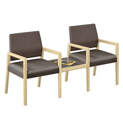 Two Polyurethane or Fabric/Polyurethane Guest Chairs with Connecting Table