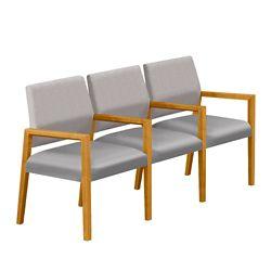 Polyurethane or Fabric/Polyurethane Three Seat Sofa with Center Arms