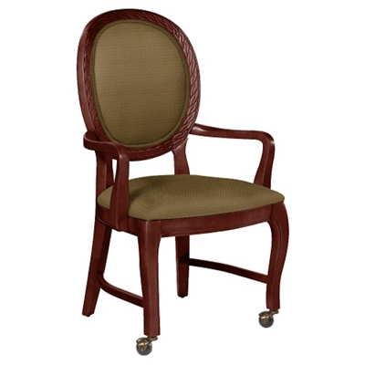 Round Back Dining Chair With Arms And Front Casters   76358 And More  Lifetime Guarantee
