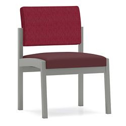 Armless Designer Fabric Guest Chair with Steel Frame