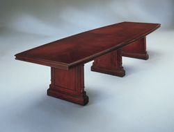 "English Cherry Traditional Boat Shape Conference Table - 144"" x  48"""