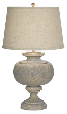 Weathered and Carved Table Lamp