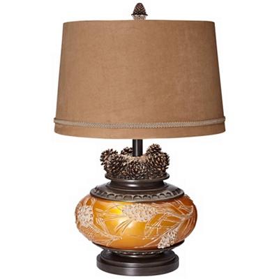 "Tl-26"" Amber Pinecone Lamp"