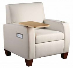 Powered Vinyl Club Chair with Tablet Surface