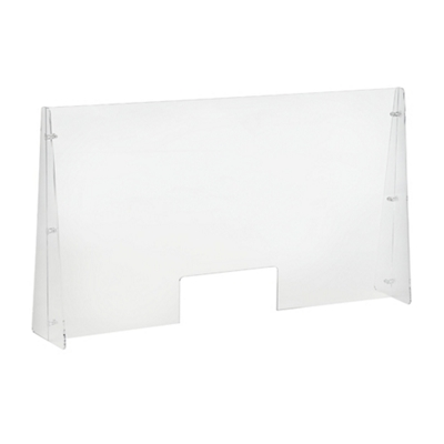 "Protective Acrylic Sneeze Guard with Slot - 42""W x 24""H"