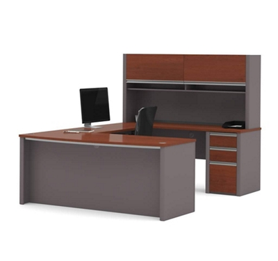 Bowfront Reversible U-Desk with Hutch