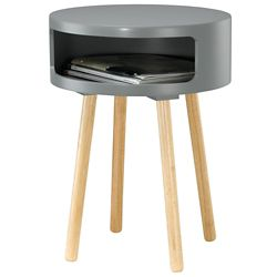 Collins Round End Table with Storage