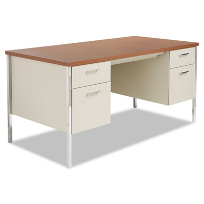"Double Pedestal Metal Desk 60"" x 30"""