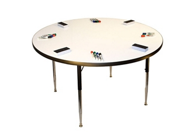 "Height Adjustable Whiteboard Table - 48""DIA"