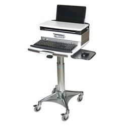 Locking Adjustable Height Laptop Cart with Lockable Drawer