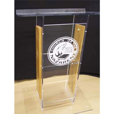 H Style Wood and Acrylic Lectern
