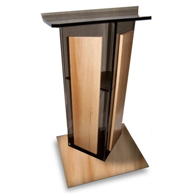 Acrylic Lectern with Wood Base