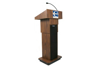 """Adjustable Height Customizable Logo Lectern with Sound - 39-47""""H"""