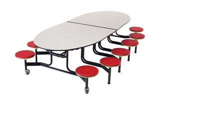 Elliptical Cafeteria Table with 12 Stools -11'