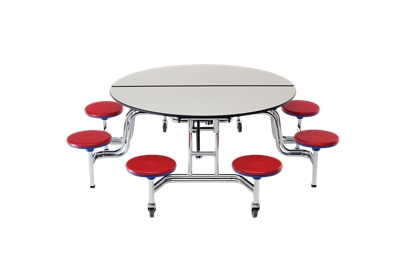 "Round Cafeteria Table with Eight Stools - 85""DIA"