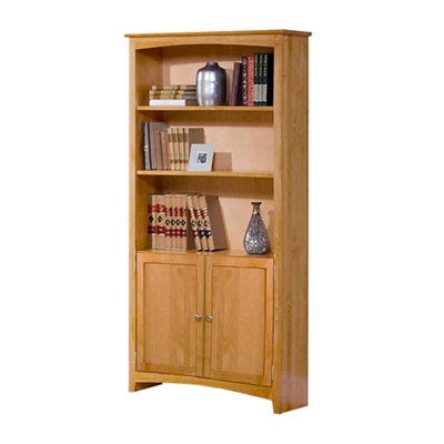 """Five Shelf Solid Wood Bookcase with Doors - 72""""H"""