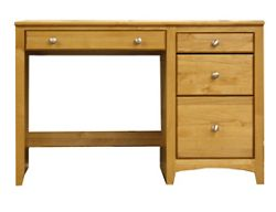 "Solid Wood Single Pedestal Four Drawer Desk - 45.375""W"