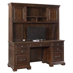 "Double Pedestal Credenza with Hutch - 66""W x 24""D"