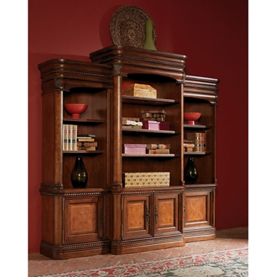 "16 Shelf Bookcase Wall with Doors - 84.5""H"