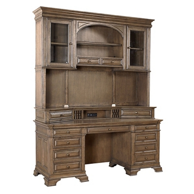 "Double Pedestal Credenza and Hutch - 72""W"
