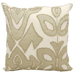 """kathy ireland by Nourison Gold Beaded Square Pillow - 20"""" x 20"""""""