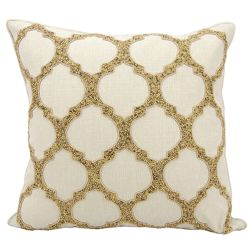 "kathy ireland by Nourison Beaded Lattice Square Pillow - 20"" x 20"""