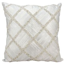 "kathy ireland by Nourison Beaded Diamond Square Pillow - 20"" x 20"""